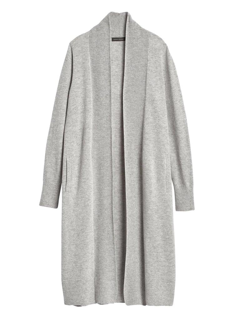 Italian Wool-Blend Duster Cardigan