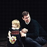 Prince Andrew brought 2-year-old Beatrice to the hospital to meet her new baby sister in March 1990.