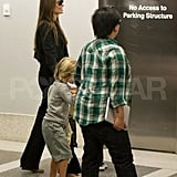 Angelina Jolie Takes Off With Zahara and a Shutter-Shades-Wearing Shiloh!
