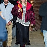 Taylor Swift Wearing Red Bomber Jacket