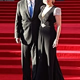 Kate Winslet and James Cameron posed together at the Titanic 3D world premiere in London.