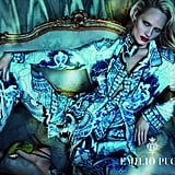 Ultraprinted suits and exotic textures for Emilio Pucci.