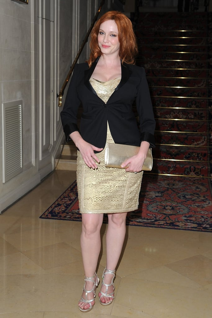 Christina Hendricks made her way into the Versace show for Paris Fashion Week.