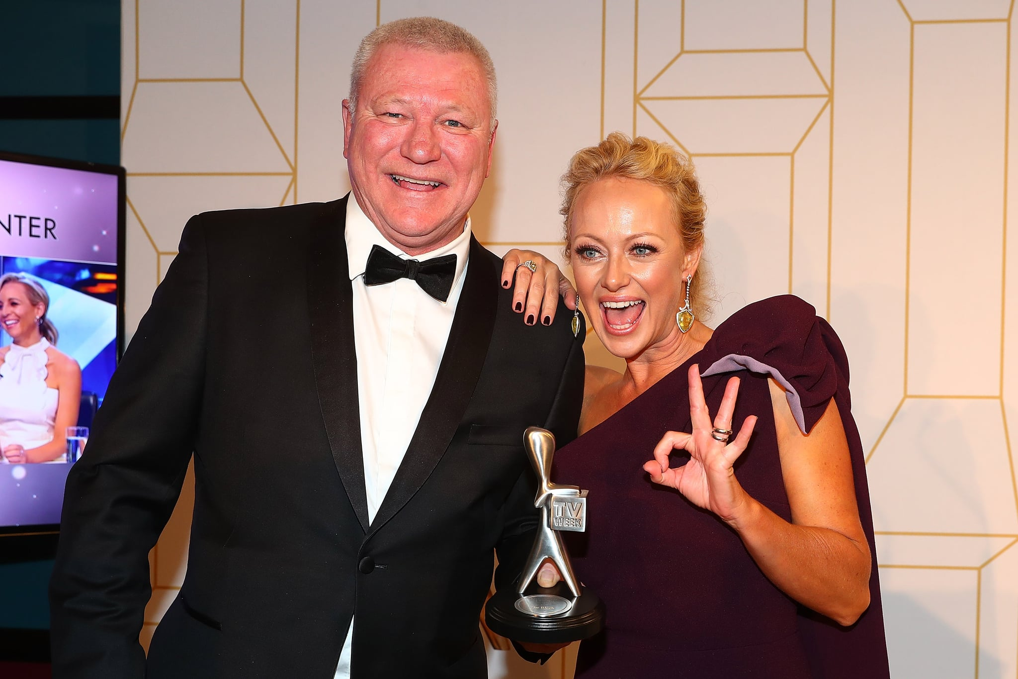 GOLD COAST, AUSTRALIA - JULY 01:  Scott Cam and Shelley Craft from the Block pose with the award for most popular reality at the 60th Annual Logie Awards at The Star Gold Coast on July 1, 2018 in Gold Coast, Australia.  (Photo by Chris Hyde/Getty Images)
