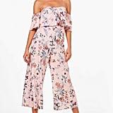 boohoo Gracie Floral Print Off Shoulder Culotte Jumpsuit
