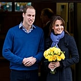 Kate and Will left the hospital, where Kate was being treated for hyperemesis gravidarum, days after their pregnancy announcement in December 2012.
