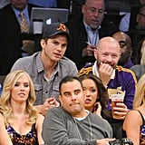 Ashton Kutcher and Rebel Wilson watched the game.