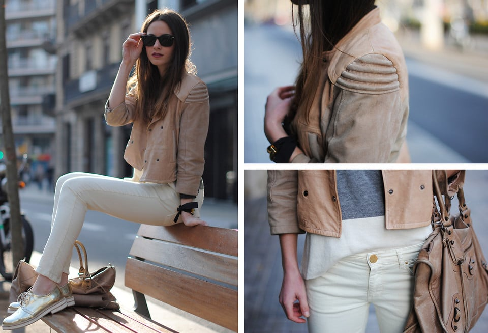If you want to keep your attire low-key and neutral-toned, you can always add a slick accessory accent (like gold brogues) for an element of surprise.  Photo courtesy of Lookbook.nu