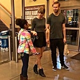 Taylor Swift and Calvin Harris were seen sporting coordinating outfits while chatting with a young fan.
