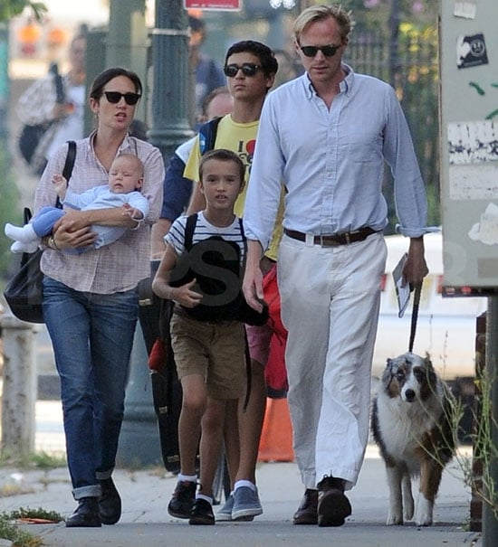 Jennifer Connelly introduced her young daughter, Agnes, today while out walking her two oldest children to school in NYC! Jennifer and her husband, Paul Bettany, are getting back into their Fall routine with 14-year-old Kai Dugan and 8-year-old Stellan. Jennifer welcomed Agnes in late May, and both mother and her now 3-month-old have been away from the spotlight since. Prior to the birth, Jennifer had been making the press rounds for her movie The Dilemma, and in an interview on The Late Show revealed that her cravings included pretzels in cream cheese. She didn't have to do interviews for her July release Salvation Boulevard, but Paul has been busy doing voice work for The Avengers.