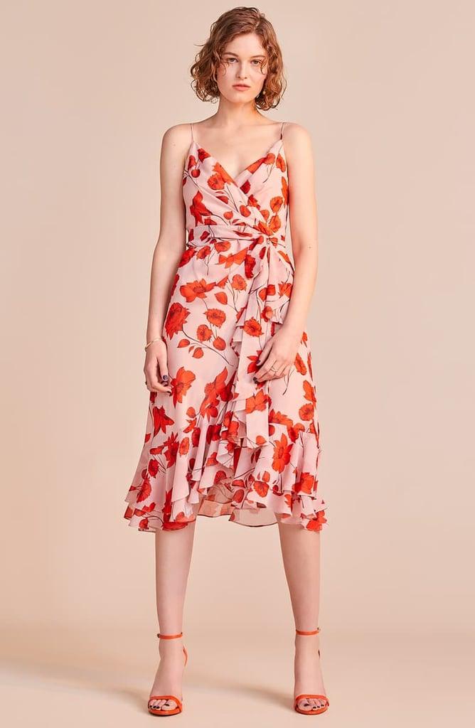 Eliza J Floral Print Faux Wrap Chiffon Dress Summer Wedding Guest