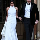 Of course, Meghan's most famous Stella McCartney look would be her reception gown, which she wore with Aquazzura heels and Princess Diana's Asprey gemstone ring.
