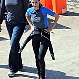 Courteney Cox in a wet suit in Malibu.