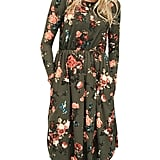 Nlife Long-Sleeve Floral Print Midi Dress