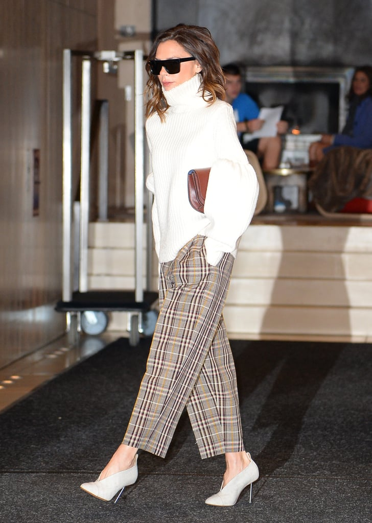 Victoria Wearing Her Mules With an Oversize Turtleneck and Plaid Pants