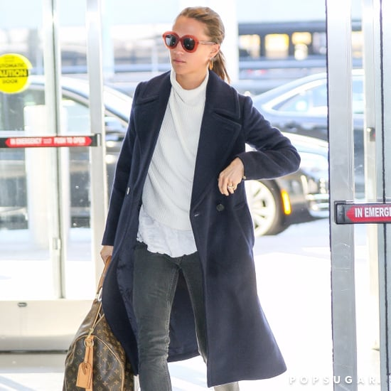 Alicia Vikander Wearing Mules at the Airport