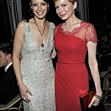 Michelle Williams and Bérénice Bejo were friendly at the Weinstein Company's Screen Actors Guild Awards after party.