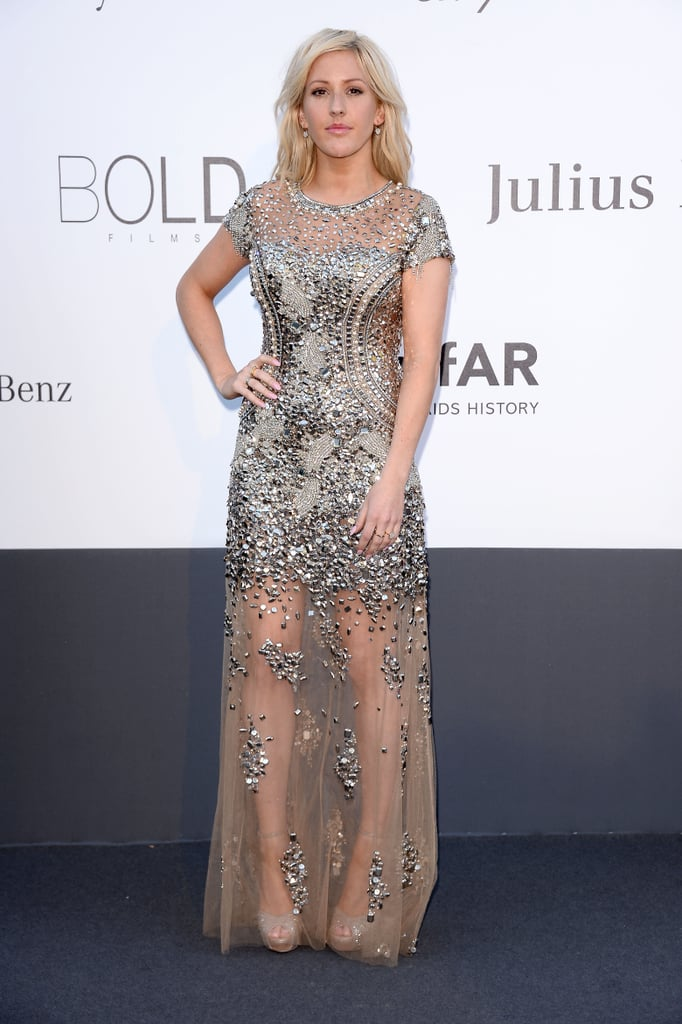 Ellie Goulding got glam in a sheer metallic embellished gown for the fashion festivities.