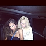 Jessica Alba and friend Kelly Sawyer got dolled up for an '80s-themed party. Source: Instagram user jessicaalba