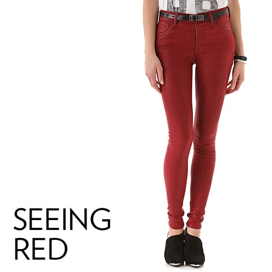 Why we love them: We're total converts to the red-jeans team, particularly for Fall. The rich cranberry, cherry, and burgundy hues will instantly lend a touch of the season to your look, but rest assured they're just as practical year-round.  How to wear them: The truth is you can pretty much wear red jeans any way you want. Treat them just like a denim staple, and style them up with heeled boots and a silky top for a night out or a pair of Western-style booties and a chunky sweater for daytime. The only update to take note of is Fall's red-leather trend, so look for leather or faux-leather versions. Source: Rag & Bone