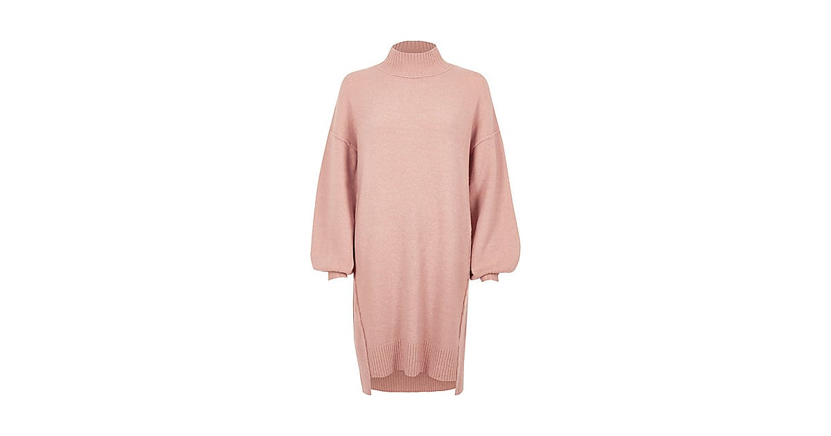 19f4019a6ec River Island Womens Light Pink Knit Balloon Sleeve Jumper Dress ...