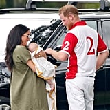 July: Meghan and Baby Archie Cheered On Harry at His Charity Polo Match