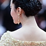 Fan's formal updo was a series of twists and braids that coalesced into a chic chignon.