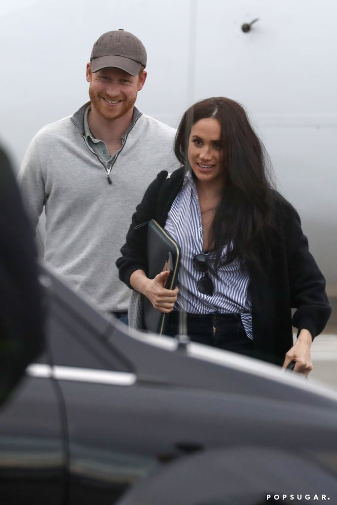 "Prince Harry and Meghan Markle have made their first joint public appearance since announcing their split from the royal family. On Feb. 14, the couple were spotted exiting a plane at Canada's Victoria International Airport after reportedly doing business in the United States. They dressed casually for the trip — Meghan rocked a button-down shirt, a cardigan, and dark pants with a pair of eco-friendly Rothy's flats, while Harry wore a gray sweater, jeans, sneakers, and a baseball cap. Carefully stepping off the aircraft, they flashed bright smiles and carried their luggage. Their son, Archie, didn't appear to be with them. Harry and Meghan have remained low-key since they revealed they'd be stepping back from their royal duties. A week after the Jan. 8 announcement, Harry addressed the decision at a gathering for his Sentebale charity. ""The decision that I have made for my wife and I to step back is not one I made lightly,"" he said. ""It was so many months of talks after so many years of challenges. And I know I haven't always got it right, but as far as this goes, there really was no other option.""  The pair have since made private outings, including an appearance at a JPMorgan Chase event in Miami, where Harry gave a speech, and another at Stanford University, where they met with professors to discuss a new charitable foundation they're launching. By the looks of it, their time away from the public eye has given them a bit of peace. Look ahead to see more photos of them arriving in Canada!       Related:                                                                                                           100+ Times Harry and Meghan Made Their Love For Each Other Loud and Clear"
