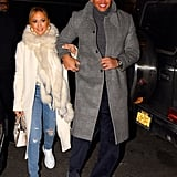 Jennifer Lopez's White Coat and Sneakers With Alex Rodriguez