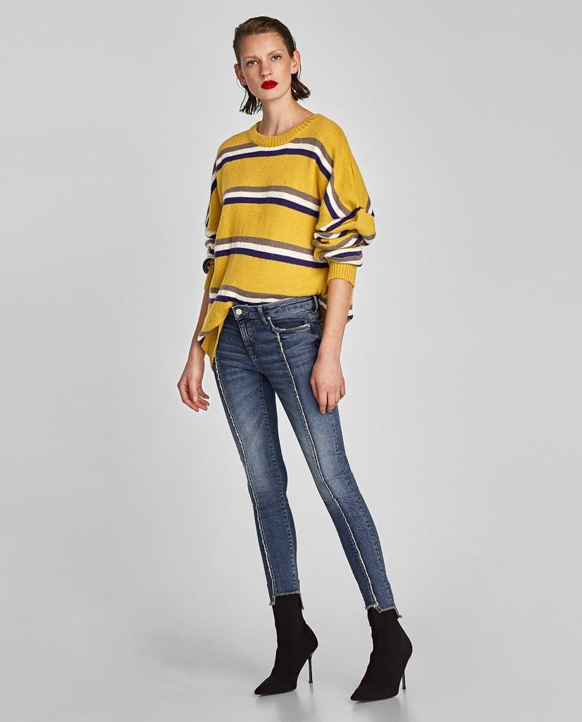 Zara Skinny Jeans With Frayed Seams