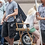 Jake Gyllenhaal and Dakota Fanning prepare to film a scene from Very Good Girls.
