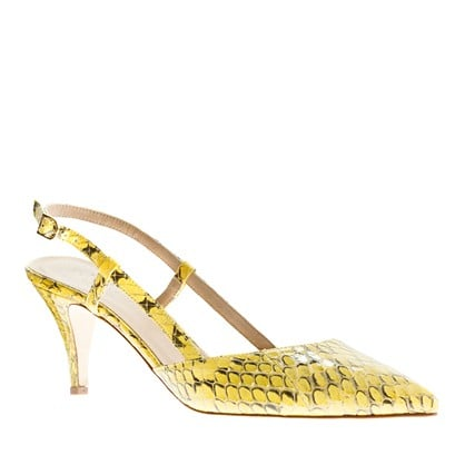 A low heel makes them practical, but a neoprene snakeprint makes them truly covetable.  J.Crew Valentina Snakeskin Slingbacks ($398)