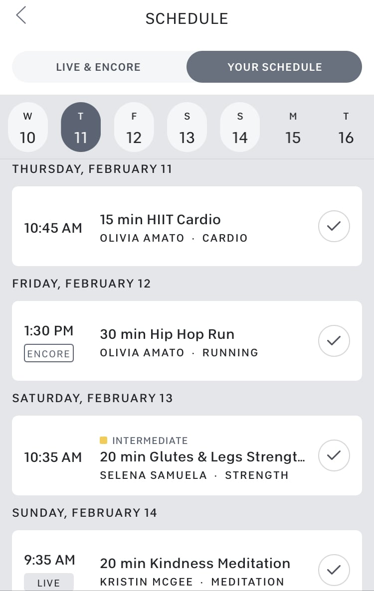 Peloton's new Scheduling feature