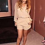 Jennifer Lopez changed into a nude ensemble for the party.