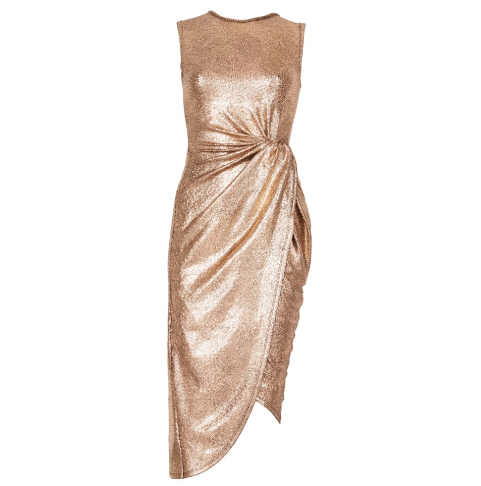 Izabel London Metallic Wrap Midi Dress
