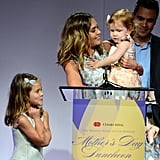 Jessica couldn't contain her love while she spoke on stage at the Helping Hand of Los Angeles Mother's Day Luncheon in 2014.