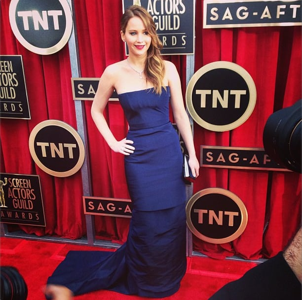 Jennifer Lawrence stepped out in a Dior Haute Couture gown. Source: Instagram user sagawards