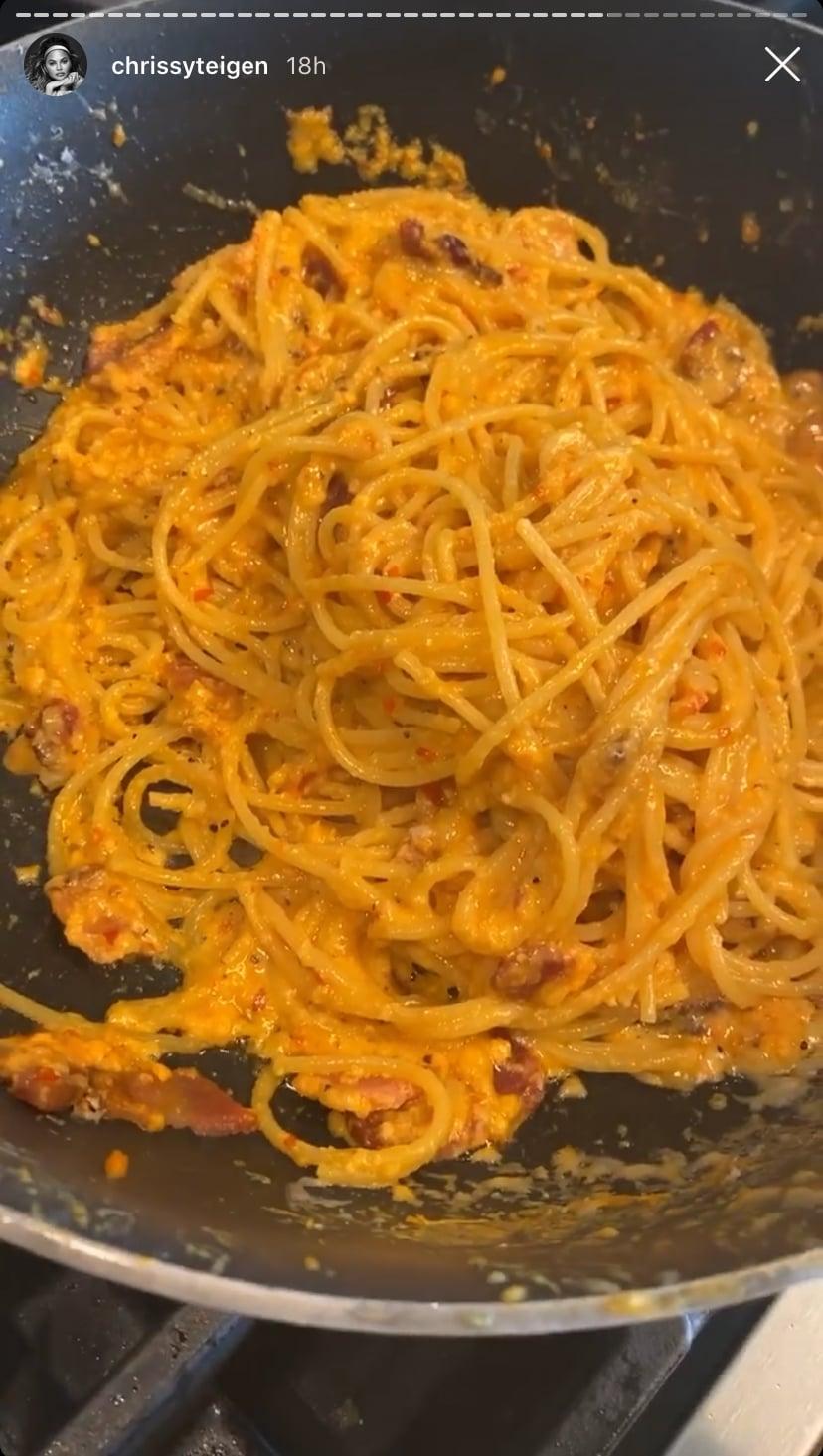 Chrissy Teigen S Spicy Miso Carbonara Pasta Recipe Popsugar Food