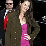 Katie Holmes Flashes a Sexy Pink Look at the Late Show
