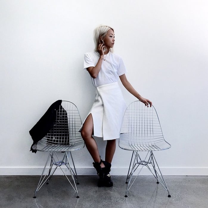 A White T-Shirt, a White Skirt, and Booties