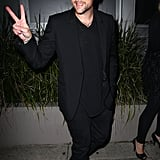 Joel Madden threw up a peace sign leaving a party for The Voice Australia in Sydney.