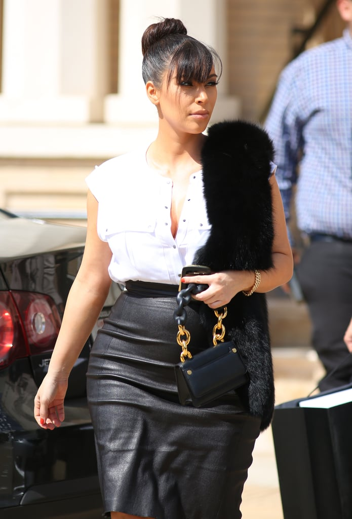 new new classic chic She Secured on a Skin-Tight Leather Skirt | Kim Kardashian ...