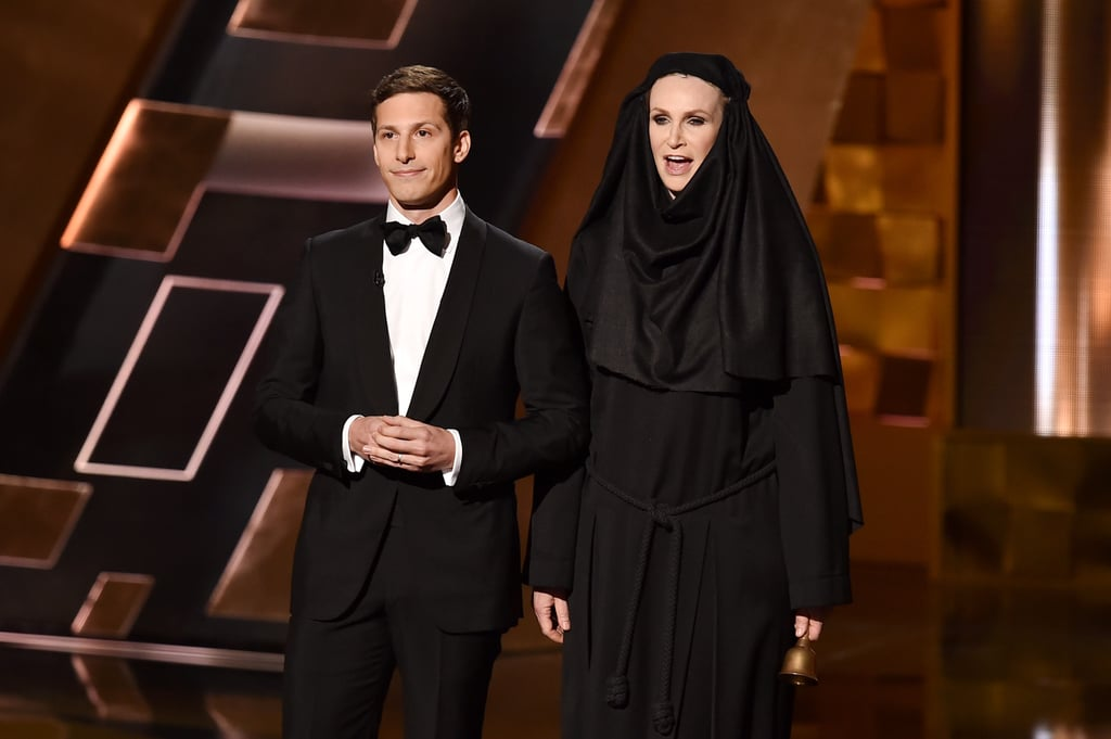 """""""If your speech goes too long, tonight instead of getting played off by the orchestra, you're going to have to deal with the mean nun from Game of Thrones."""" — Before introducing Jane Lynch as the Shame Nun."""