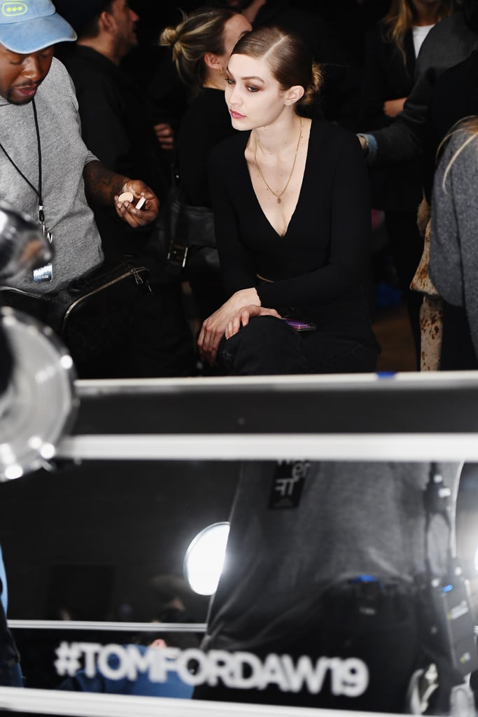 Gigi Hadid Backstage at Tom Ford Fall 2019