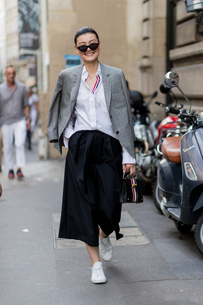 French Tuck Into Culottes Under Shoulder-Draped Blazer
