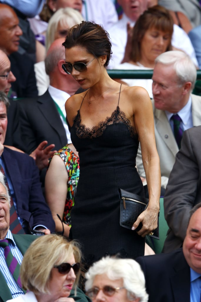Victoria Beckham was one of many stars to hit the Wimbledon men's grandfinal in London on June 7, looking great in a sexy black ensemble.