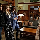 Sorry, girls. All we can see is that Aria's skirt has pockets!