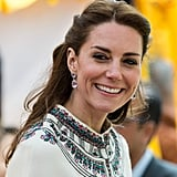 The most expensive jewelry of the year was teamed with Kate's most unusual look. The traditional Bhutanese clothing worked perfectly with her lavender amethyst Kiki McDonough earrings, which cost a whopping $5,538.