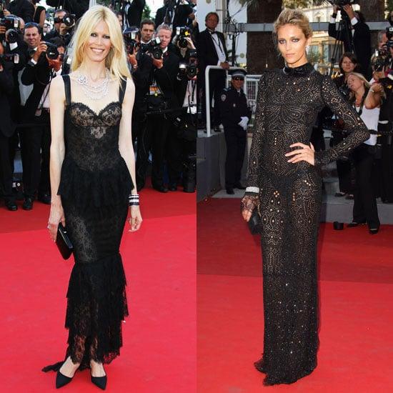 Claudia Schiffer in Dolce & Gabbana and Anja Rubik in Emilio Pucci at the 2011 Cannes Film Festival