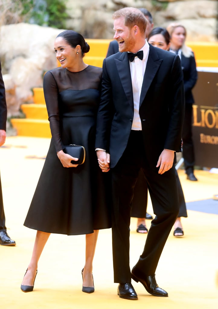 Meghan Markle and Prince Harry made a stunning appearance at the London premiere of The Lion King on Sunday. The Duke and Duchess of Sussex — who recently welcomed their newborn son, Archie — attended the special event looking truly regal as Meghan wore an elegant black dress and Harry sported a tuxedo. The two appeared at the gathering to support the cast and crew, including Beyoncé — the voice of adult Nala in the film — who has previously shown her support for Meghan. In January, Beyoncé and JAY-Z gave a heartwarming ode to Meghan while accepting a Brit award for best international group (for their collaborative work as The Carters). Shortly after, Bey honoured Meghan with a tribute on her personal website. It's also fitting that The Lion King premiere is Harry and Meghan's first red carpet together since Meghan — who has an impressive acting résumé — is the patron of the National Theatre. Look on to view more pictures of the royal duo at the movie event!      Related:                                                                                                           Everyone Else Can Go Home Now, Because 2019 Belongs to Prince Harry and Meghan Markle
